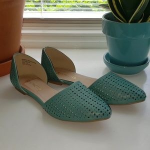 Restricted Turquoise Pointed Toe Flats